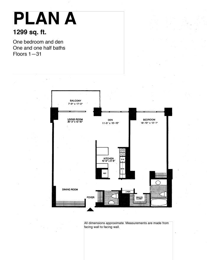 Plan A, 1 Bedroom And Den, 1 ½ Bath, 1,299 Sq. Ft.